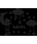 Oso en la luna Niña (Nombre Personalizado)