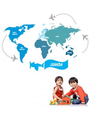 Mapamundi 5 continentes Niño (nombre personalizado)