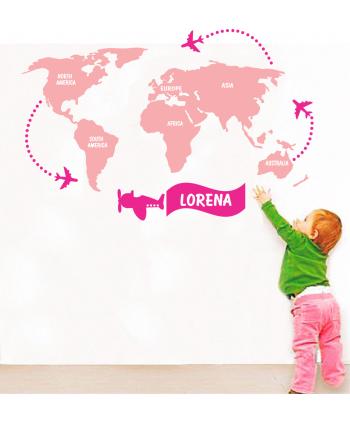Mapamundi colorido niña (personalizado)